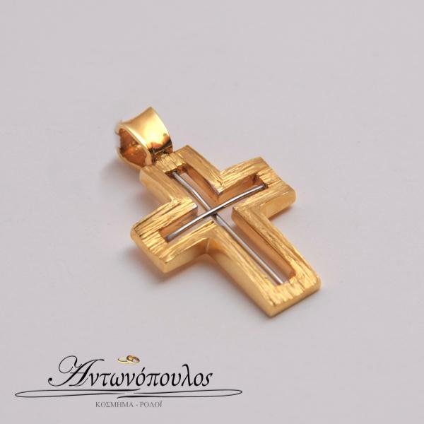 Χρυσός Σταυρός με Λευκόχρυσο σχέδιο στα 14 Καράτια tr5104