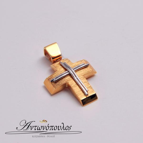 Σταυρός Χρυσός Σαγρέ με Λευκόχρυσο στα 14 Καράτια tr5105