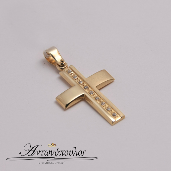 Χρυσός Σταυρός Λουστρέ με Ζιργκοόν mb5107