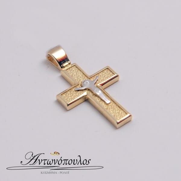 Σταυρός Χρυσός με Λευκόχρυσο Κ14 -in5120