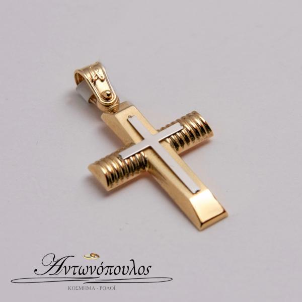 Σταυρός Χρυσός με Λευκόχρυσο Κ14 -mb5135