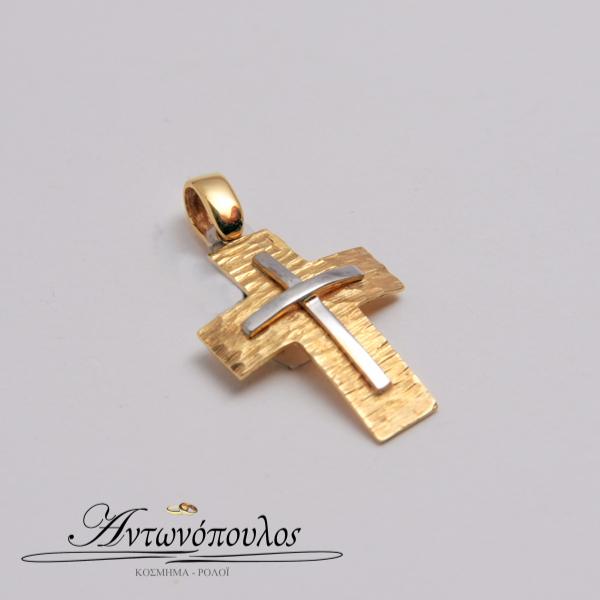 Σταυρός Χρυσός με Λευκόχρυσο Κ14 -tr5137