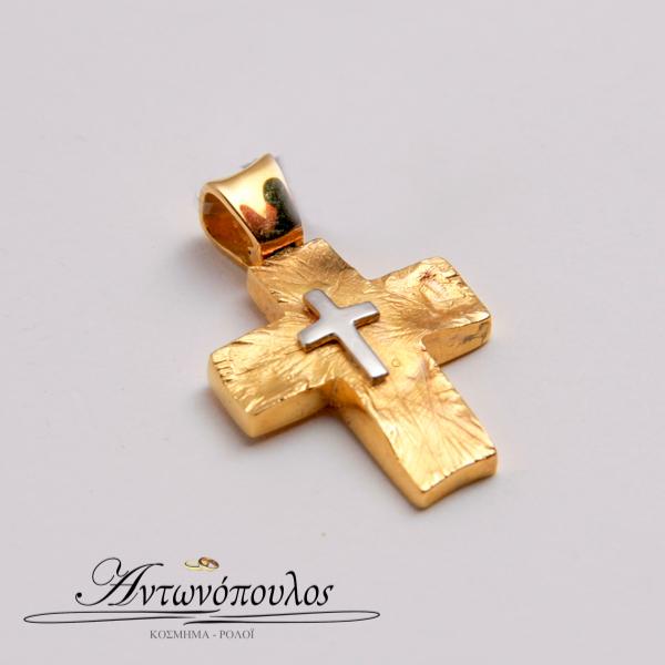 Σταυρός Χρυσός με Λεκόχρυσο Κ9 -tr5141