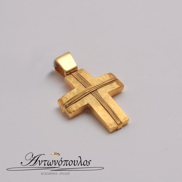 Σταυρός Χρυσός σαγρέ Κ9 -tr5142