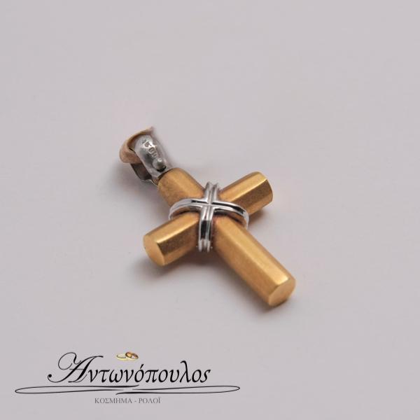 Σταυρός Χρυσός με Λευκόχρυσο Κ18 -in5147