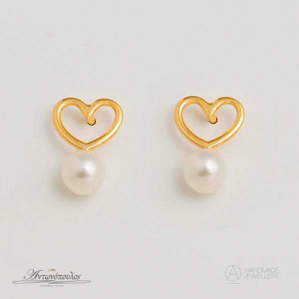 Σκουλαρίκια Ασημένια Χειροποίητα Καρδιά με Διπλή Επιχρύσωση 24 Καρατίων & Μαργαριτάρια -ge023