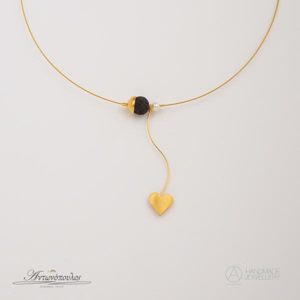 Aσημένιo Kολιέ Καρδιά με Διπλή Επιχρύσωση 24 Καρατίων & Πέτρα Λάβας -gn013