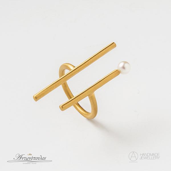 Ασημένιο Δαχτυλίδι Χειροποίητο με Διπλή Επιχρύσωση 24 Καρατίων & Μαργαριτάρι -gr006