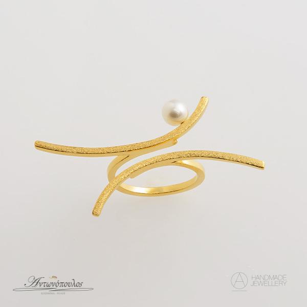 Ασημένιο Δαχτυλίδι Χειροποίητο με Διπλή Επιχρύσωση 24 Καρατίων & Μαργαριτάρι -gr020