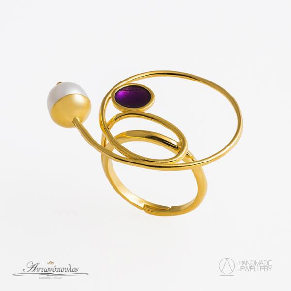 Ασημένιο Δαχτυλίδι Χειροποίητο με Διπλή Επιχρύσωση 24 Καρατίων & Μαργαριτάρι -gr027