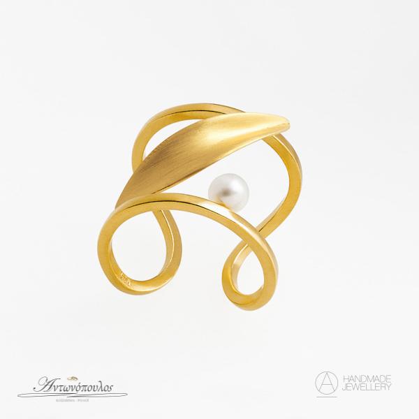 Ασημένιο Δαχτυλίδι Χειροποίητο με Διπλή Επιχρύσωση 24 Καρατίων & Μαργαριτάρι -gr057