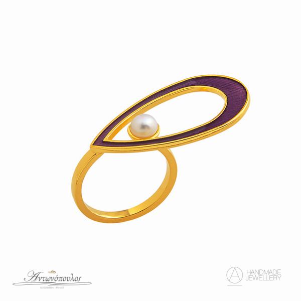 Ασημένιο Δαχτυλίδι Χειροποίητο με Διπλή Επιχρύσωση 24 Καρατίων & Μαργαριτάρι -gr060