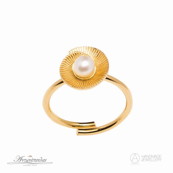 Ασημένιο δαχτυλίδι Χειροποίητο με διπλή επιχρύσωση 24 καρατίων & μαργαριτάρι -gr087