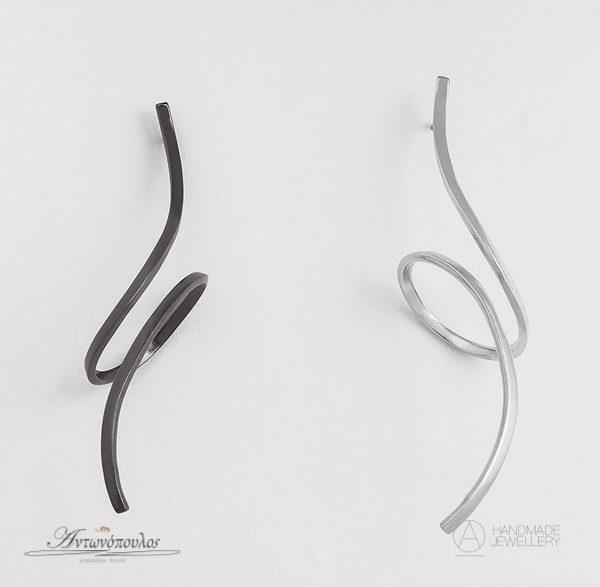 Ασημένια Σκουλαρίκια Χειροποίητα με Διπλή Επιπλατίνωση -re027