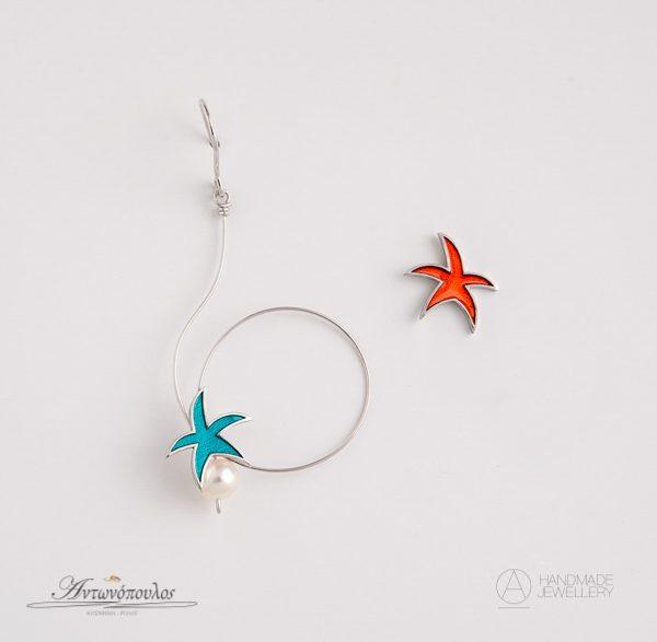 Χειροποίητα Ασημένια Σκουλαρίκια Αστέρι, με Διπλή Επιπλατίνωση & Μαργαριτάριre-re050