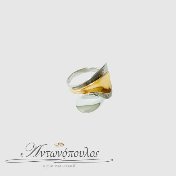 Δαχτυλίδι Λευκόχρυσο με Χρυσό Κ14 -049