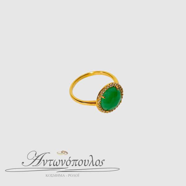 Δαχτυλίδι Χρυσό Κ14 με Αχάτη & Ζιργκόν -080