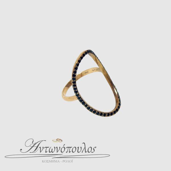Δαχτυλίδι Ροζ Χρυσό Κ9 με Ζιργκόν -081