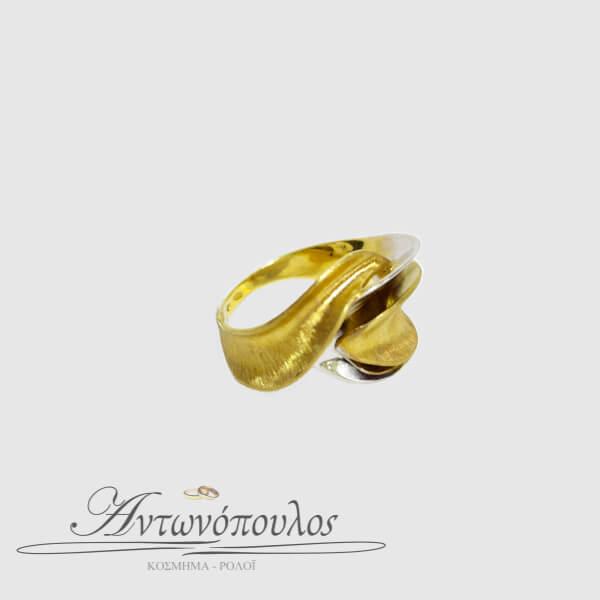 Δαχτυλίδι Χρυσό με Λευκόχρυσο Κ14 -083