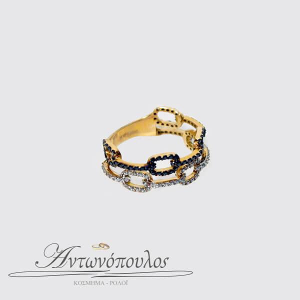 Δαχτυλίδι Ροζ Χρυσό 14Κ με Ζιργκόν -084