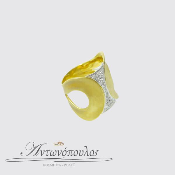 Δαχτυλίδι Χρυσό με Λευκόχρυσο Κ14 & Ζιργκόν -087
