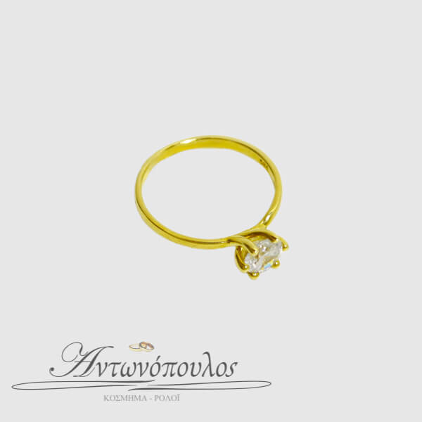 Μονόπετρο Δαχτυλίδι Χρυσό Κ14 με Ζιργκόν -ma035