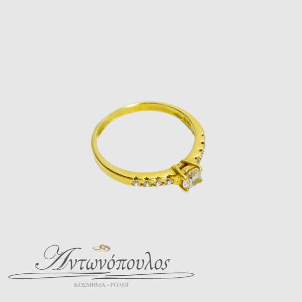 Μονόπετρο Δαχτυλίδι Χρυσό Κ14 με Ζιργκόν -ma036