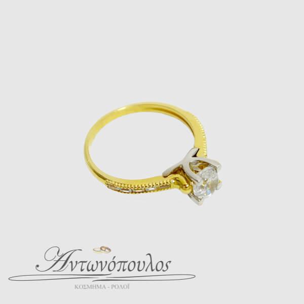Δαχτυλίδι Μονόπετρο Χρυσό Κ14 με Ζιργκόν -ma037