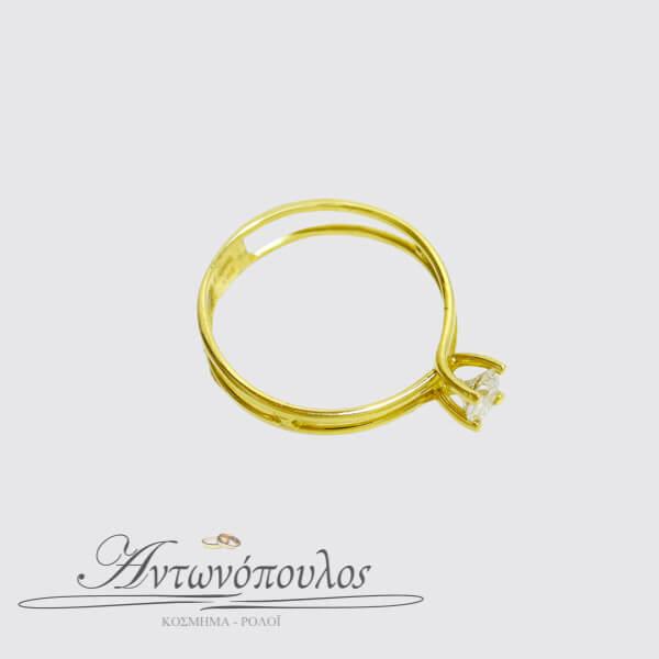 Μονόπετρο Χρυσό Δαχτυλίδι 14 Καρατίων με Ζιργκόν -ma038