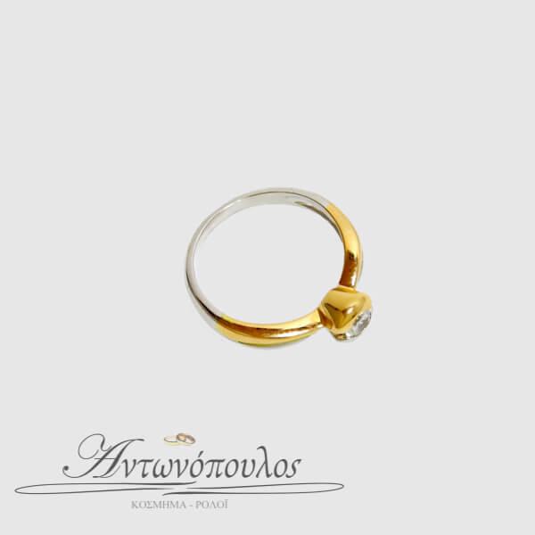Μονόπετρο Δαχτυλίδι σε Λευκόχρυσο & Ροζ Χρυσό 14Κ με Ζιργκόν -ma039