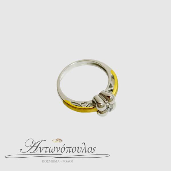 Δαχτυλίδι Μονόπετρο 14Κ σε Λευκόχρυσο & Ροζ Χρυσό με Ζιργκόν -ma040