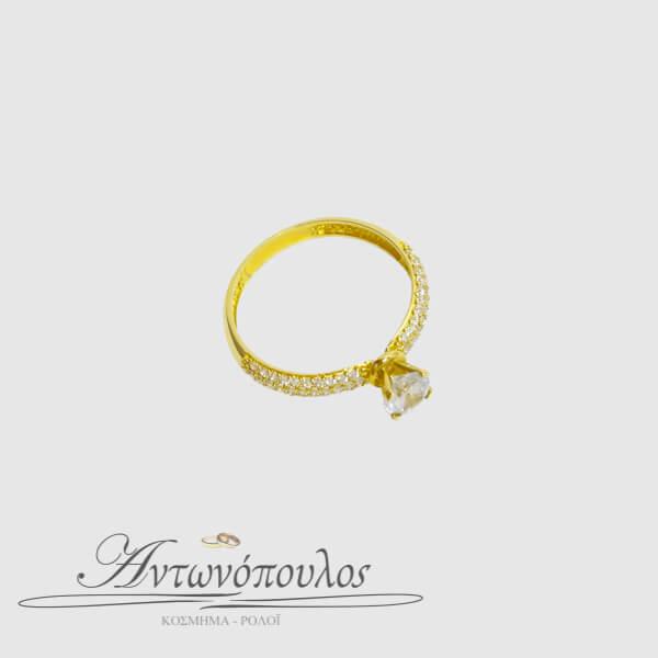 Μονόπετρο Χρυσό Δαχτυλίδι 14 Καρατίων με Πέτρες Ζιργκόν -ma041