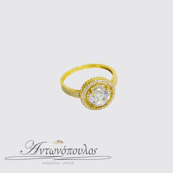 Μονόπετρο Χρυσό Δαχτυλίδι Κ14 με Ζιργκόν -047