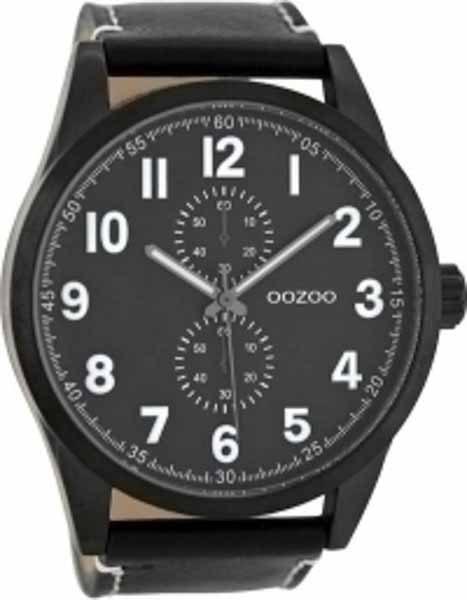Ρολόι Oozoo Μαύρο με Μαύρο Δερμάτινο Λουρί c8224