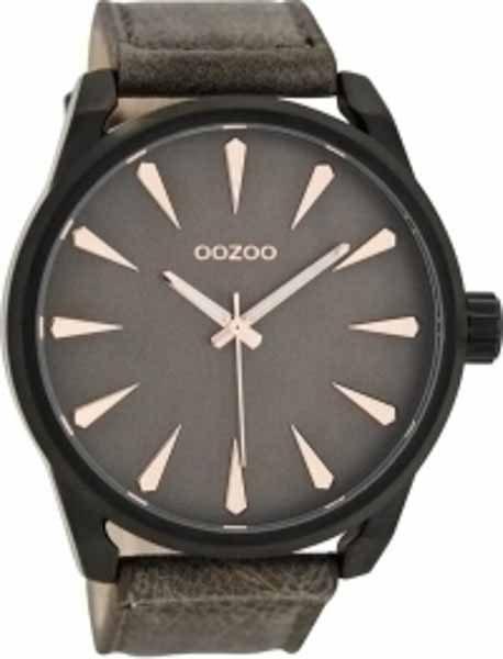 Ρολόι Oozoo Μαύρο με Καφέ Δερμάτινο Λουρί c8228