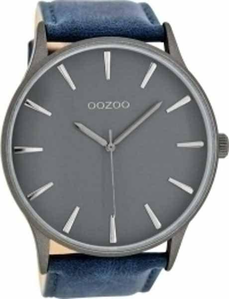 Ρολόι Oozoo Γκρι με Μπλε Δερμάτινο Λουρί c8231