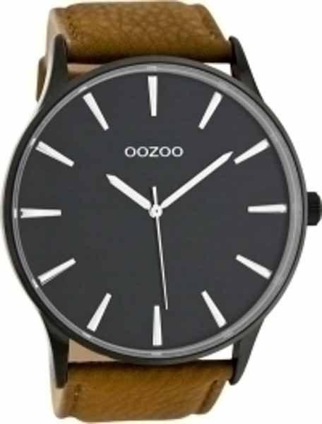 Ρολόι Oozoo Μαύρο με Καφέ Δερμάτινο Λουρί c8232