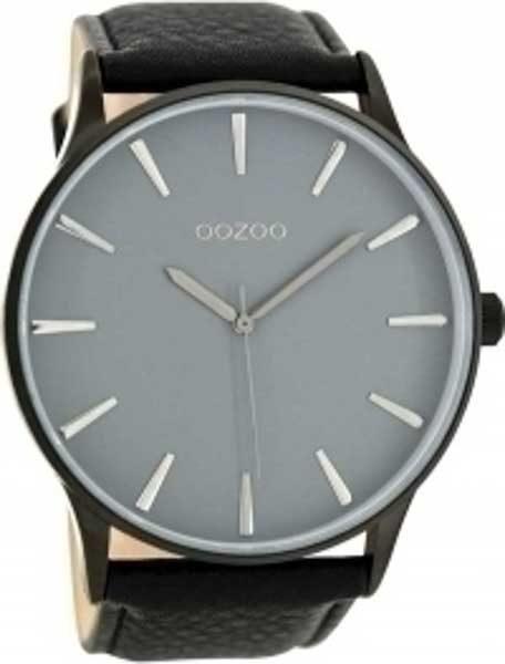 Ρολόι oozoo Γκρι με Μαύρο Δερμάτινο Λουρί c8234