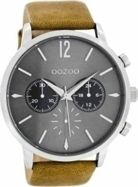 oozoo Ρολόι Γκρι με Μπεζ Δερμάτινο Λουρί c8240