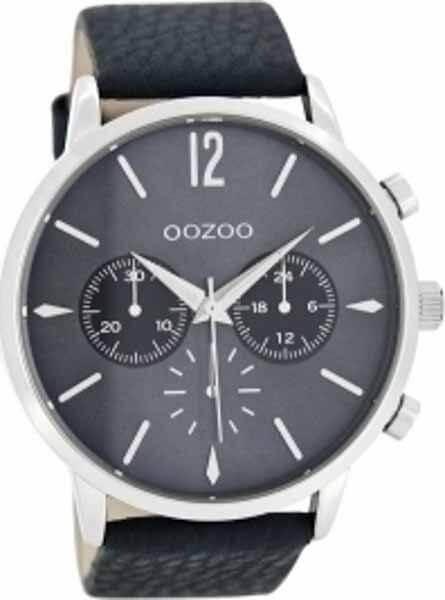 oozoo Ρολόι Μπλε Σκούρο με Δερμάτινο Λουρί c8242