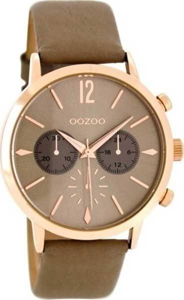 Ρολόι oozoo καφέ & ροζ χρυσό με Δερμάτινο Λουρί c8248