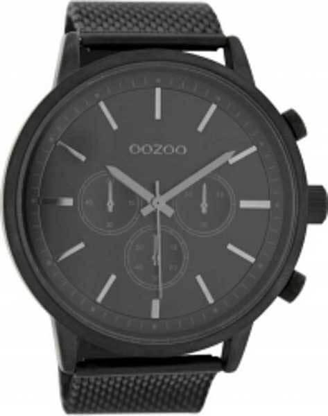Ρολόι oozoo με Μαύρο Δερμάτινο Λουρί & Γκρι Δείκτες c8264