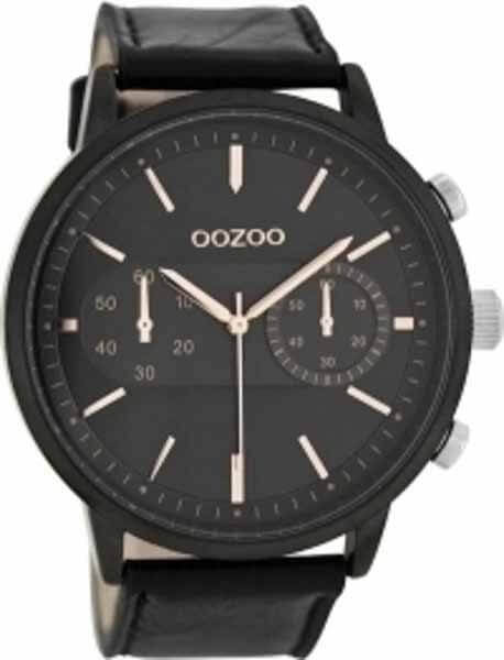 Ρολόι oozoo με Μαύρο Δερμάτινο Λουρί c8268