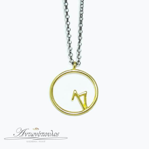 Γούρι 2017 -Ασημένια αλυσίδα με επιχρυσωμένο κύκλο -aj002