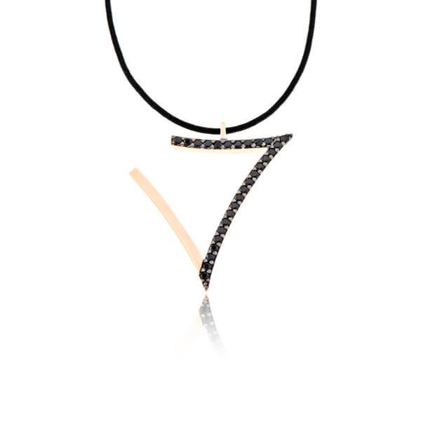 Κρεμαστό Γούρι 17 σε Χρυσό με Μάυρα Ζιργκόν -gf002