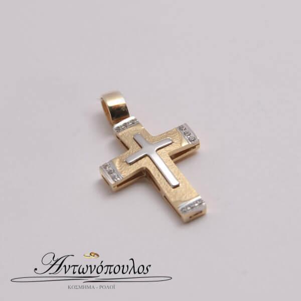 Σταυρός σε Χρυσό με Λευκόχρυσο Κ14 & Ζιργκόν -in5113