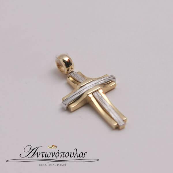Σταυρός Χρυσός με Λευκόχρυσο κ14 -mb5115