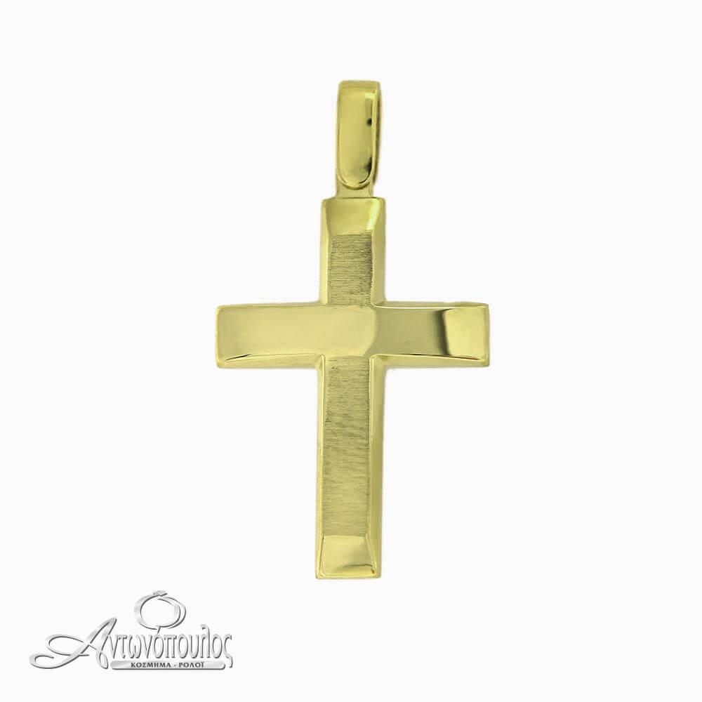 Σταύρος Χρυσός Λουστρέ 14 Καράτια -arg364