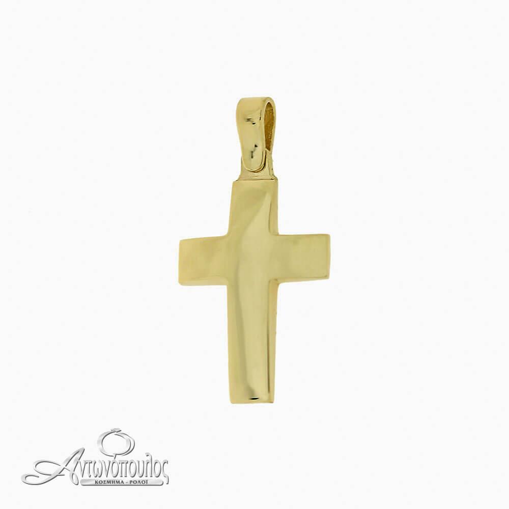 Χρυσός Σταύρος Λουστρέ 14 Καράτια -arg422