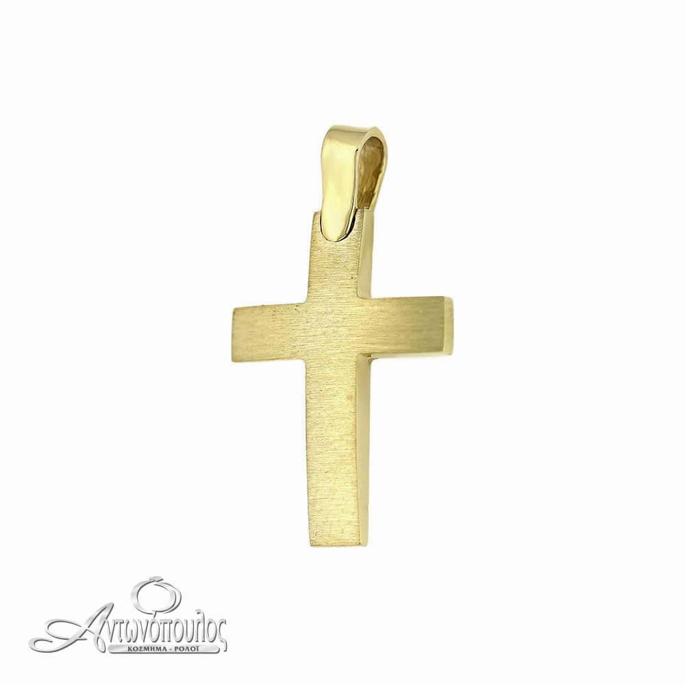 Χρυσός Σταυρός Σαγρέ και Λουστρέ 14 Καράτια -arg4573